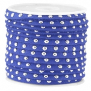 Faux suède leather with studs silver 5 mm Cobalt blue