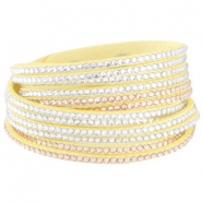 Faux suède bracelet with rhinestones Lemon yellow