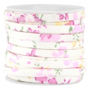 Trendy 5mm flat cord Off white pink