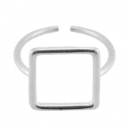 Square DQ metal ring 18mm Antique silver (nickel free)