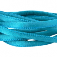 Stitched DQ silk cord 6x4mm Dark scuba blue