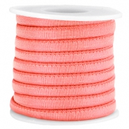 Trendy stitched Jean-Jean cord 6x4mm Coral pink