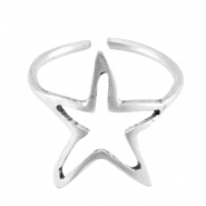 DQ metal ring star 16mm Antique silver (nickel free)