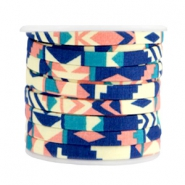 Trendy flat cord 5mm Blue coral pink