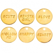 Dq metal charms #Hastag words Gold (nickel free)