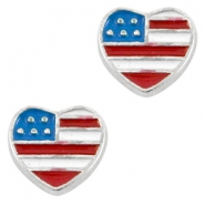 Heartshaped floating charms USA Antique silver-blue red white