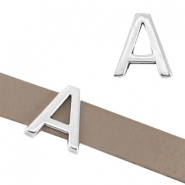 "DQ metal letter slider ""A"" Ø10.3x2.3mm Antique silver (nickel free)"