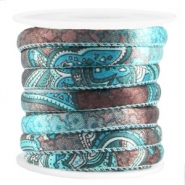 Trendy stitched cord 6x4mm Turquoise brown