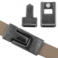 DQ metal magnetic clasp 30x13mm for 10 mm flat leather Silver anthracite (nickel free)