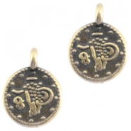DQ metal coin charm Antique bronze (nickel free)