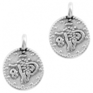 DQ metal coin charm Antique silver (nickel free)