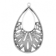 DQ metal drop shaped pendant Antique silver (nickel free)