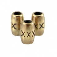 DQ metal tube shaped bead with X Antique bronze (nickel free)