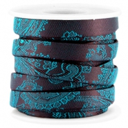 Trendy Baroque flat cord 10mm Aubergine - blue