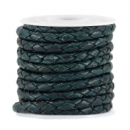 4mm DQ leather 4 wires round braided Dark teal blue - antique finish