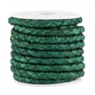 3mm DQ leather 4 wires round braided Classic green - vintage finish
