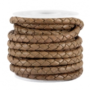 4mm DQ leather 4 wires round braided Brown - antique finish