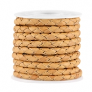 4mm DQ leather 4 wires round braided Light earth brown - vintage finish