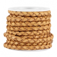 3mm DQ leather 4 wires round braided Light cognac brown - vintage finish