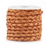 3mm DQ leather 4 wires round braided Pumpkin brown - vintage finish