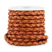 4mm DQ leather 4 wires round braided Dark rose brown - vintage finish