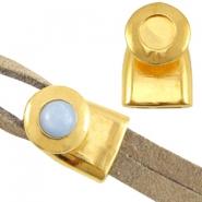 DQ metal end cap/clasp for 7mm cabochon and Swarovski SS34 ( for 2x5mm wire/leather) Gold (nickel free)