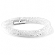 Double crystal faceted bracelets White - crystal