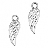 DQ metal charm angel wing Antique silver (nickel free)