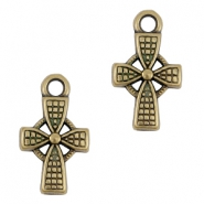 DQ metal charms / charm cross Antique bronze (nickel free)