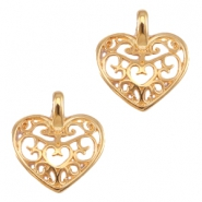 DQ metal charms / charm heart Rose gold (nickel free)