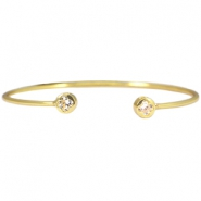 Metal bracelet diamond flower Gold