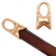 DQ metal end cap with loop (for Divino leather / cord) Rose gold (nickel free)