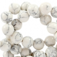 Round turquoise natural stone beads 6mm Off white