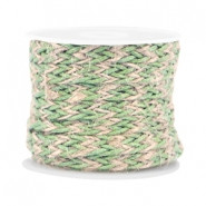 Trendy flat braided waxed cord 7mm Vintage green