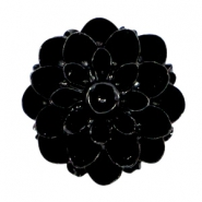Shiny dahlia flower beads 14mm Black