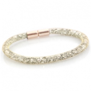Single crystal faceted bracelet Gold - silver crystal