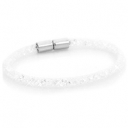 Single crystal faceted bracelet White - crystal