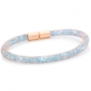 Single crystal faceted bracelet Rose gold - light sapphire