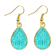 Trendy golden drop shaped earrings Turquoise blue