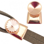 DQ metal end cap / clasp for Rivoli chaton 12mm (for 2x5mm wire / leather) Rose gold (nickel free)