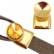 DQ metal end cap / clasp for Rivoli chaton 12mm (for 2x5mm wire / leather) Gold (nickel free)