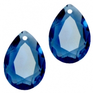 Drop shaped SQ faceted charms 10x14mm Montana blue