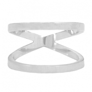 Stainless steel double ring 17mm Silver