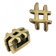 DQ metal Hashtag sliders for 5mm leather Antique bronze (nickel free)