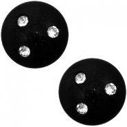Super Polaris 12mm classic cabochon 3 Swarovski chatons Nero black