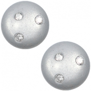 Super Polaris 12mm classic cabochon 3 Swarovski chatons Ice grey