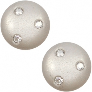 Super Polaris 12mm classic cabochon 3 Swarovski chatons Silver shade