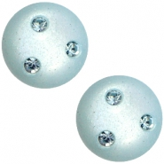 Super Polaris 12mm classic cabochon 3 Swarovski chatons Haze blue