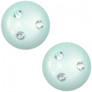 Super Polaris 12mm classic cabochon 3 Swarovski chatons Light aqua green