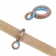 DQ findings charm with loop (for stitched 6mm leather) Copper blue patina (nickel free)